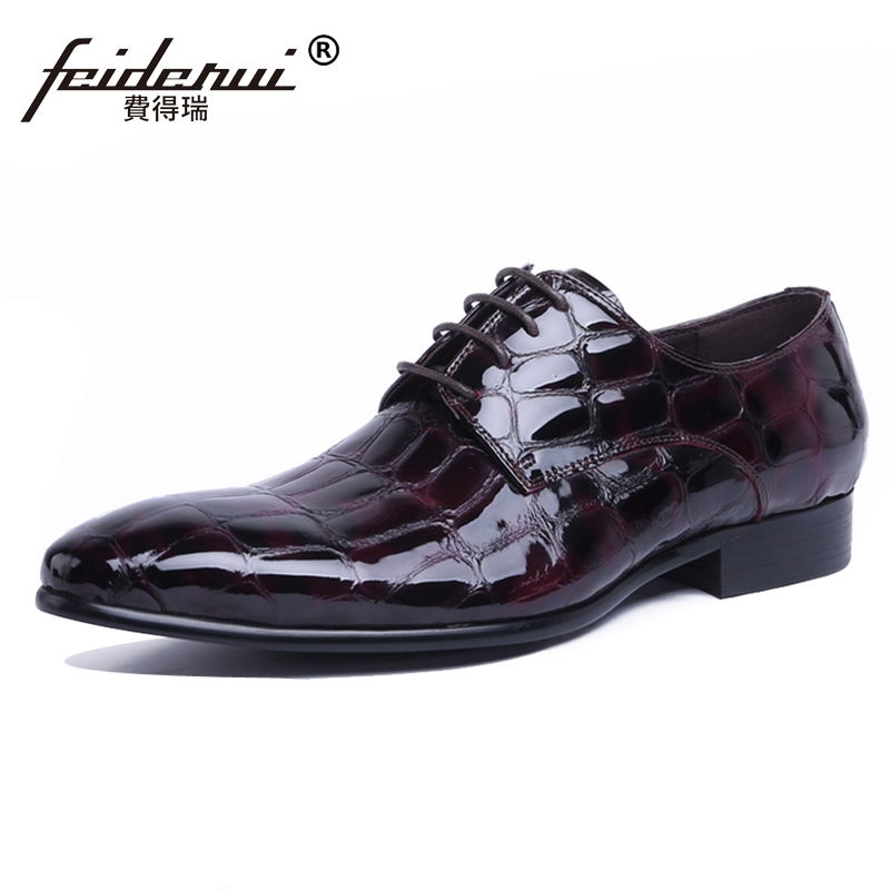 High Quality Man Derby Dress Shoes Patent Leather Wedding Oxfords Luxury Italian Designer Pointed Toe Men