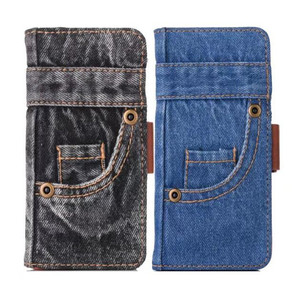 Image 1 - Fashion Jeans Canvas Cloth Leather Case For iphone 6 6s 7 7 Plus Case Book Flip Stand Wallet Bag For iphone X 8 8 Plus Cover Gel