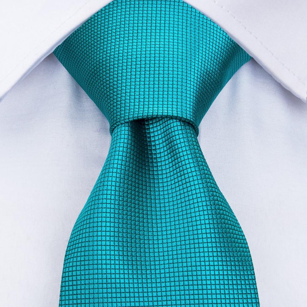 DiBanGu Men Ties Novelty Mens Neck 100% Silk Tie Turquoise Blue Neckties Cravat Fashion Solid Color For Wedding Business MJ-221