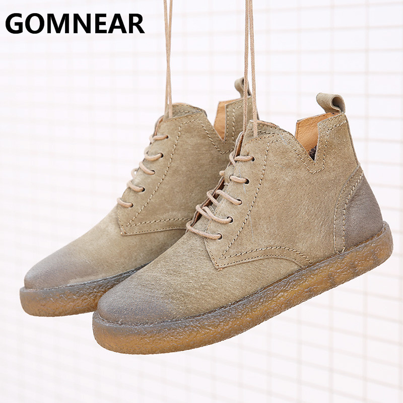 GOMNEAR Autumn Women Genuine Leather Hiking Boots Outdoor Comfortable Lace-up Hip-top Soft Walking Shoes Free Shipping Big Size genuine leather baby shoes lace up toddler baby moccasins mixed colors boys shoes first walkers free shipping