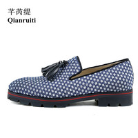 Qianruiti Italian Street Style Casual Shoes Men Knitting Tassel Flats Slip on Anti skid Men Oxfords Men Plaid Casual Loafers