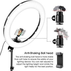 Image 4 - Travor 18 cal lampa pierścieniowa led możliwość przyciemniania dwukolorowa 512 sztuk lampa pierścieniowa ze statywem do Studio oświetlenie fotograficzne lampa pierścieniowa