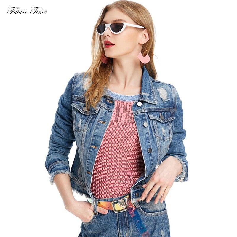 Femme Vestes Vers Trou Vintage Femmes Bas Manteau Outwear Denim Bleu Jeans Tournent À Déchiré Le Mode C1542 Manches Base De Lâche Veste Longues EAqUOxfq