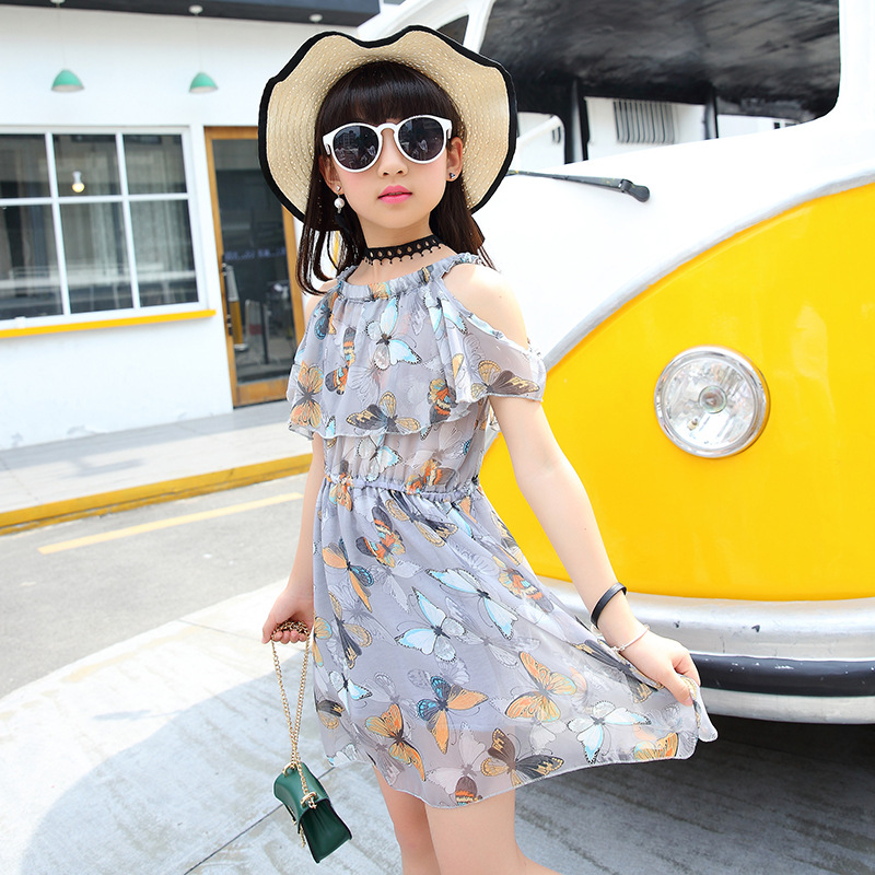2018 New Girls Dress Sommermote Ermeløs Butterfly Printing Chiffon Casual Crew Neck Clothing 8 9 10 11 12 13 14 15 år