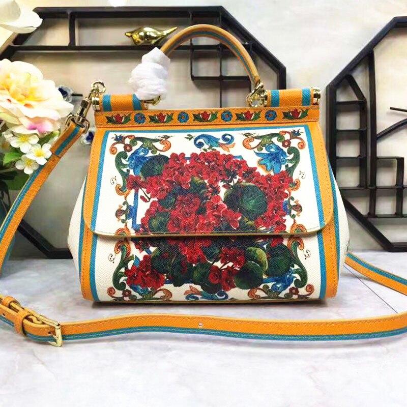 Incroyable Charme! Qualité parfaite! Fleur de plante de mode impression de fleurs colorées impression de couleur sac à main croix d'épaule Baitie