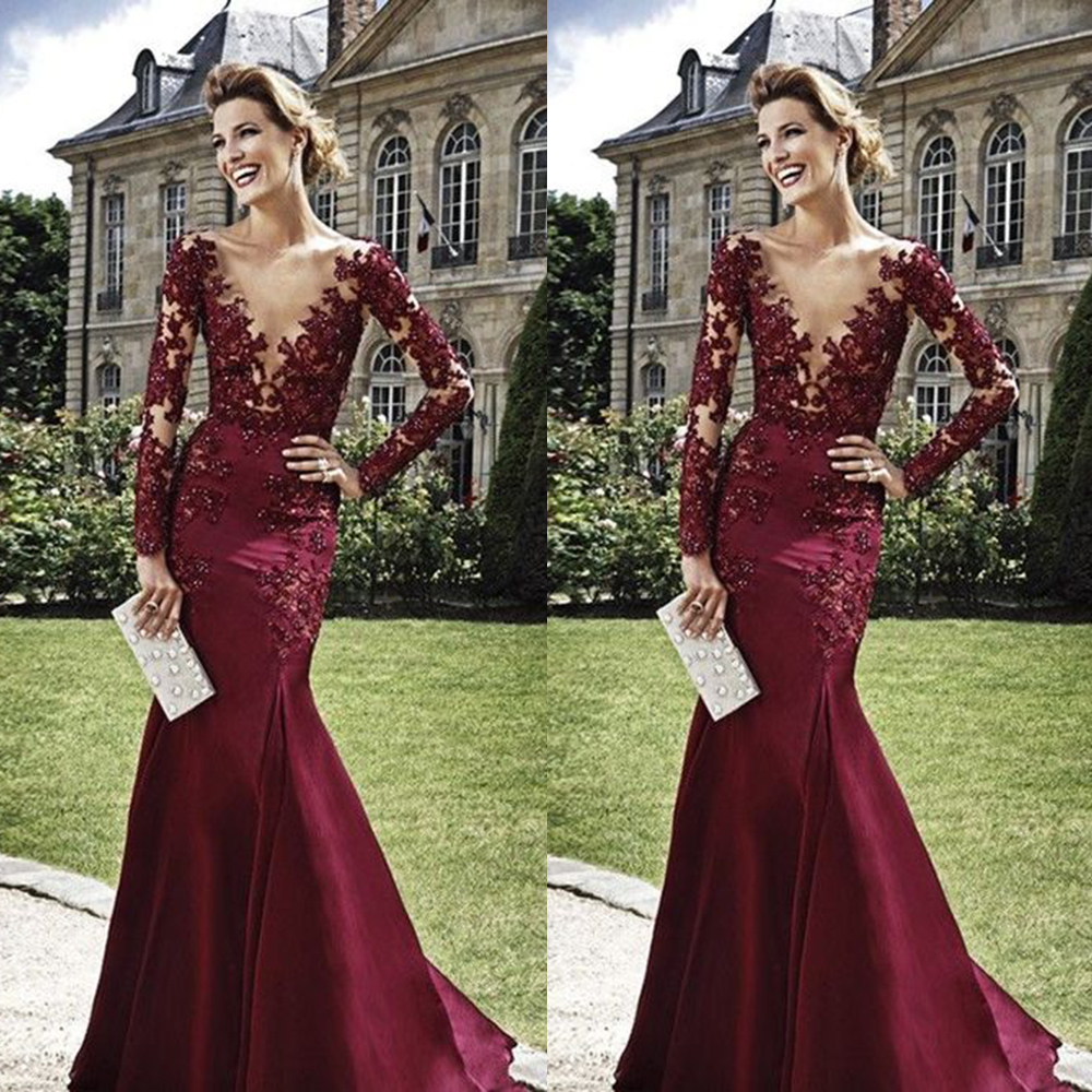 Long Evening Gowns For Wedding: Glamorous Beaded Lace Burgundy Evening Dress Mermaid Long