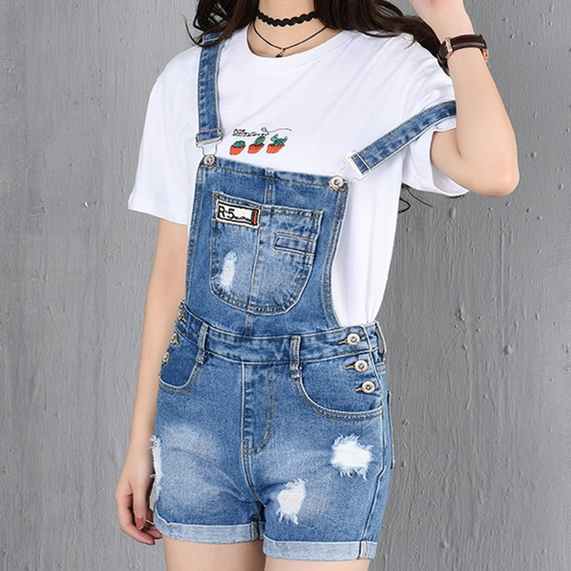 PLAMTEE Patches Big Pocket Short Overalls Women Cuffs Hole Denim Jumpsuit Ripped Jeans Plus Size Romper Strap Sleveless Playsuit