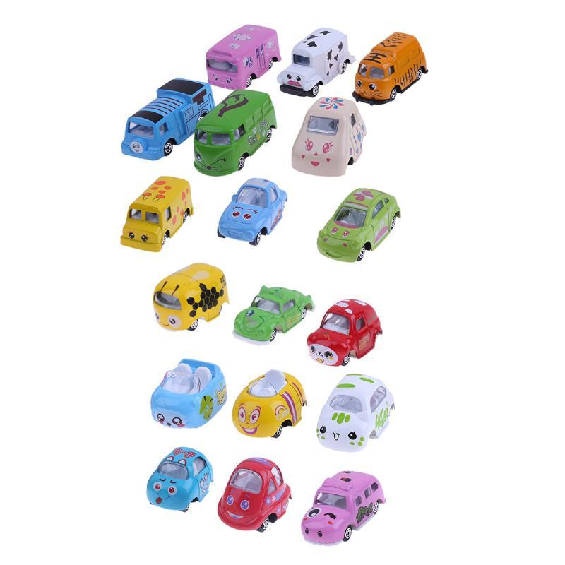9Pcs/Set 1:64 Mini Cartoon Animal Cars Model Toy Lovely Alloy Simulation Animal Shape Cars Buses Toy Kids Boys Birthday Gift