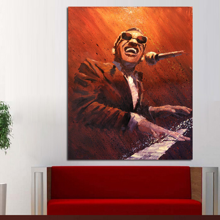 hot sale pure Handpainted Modern Abstract Oil Paintings Wall Pictures on Canvas Ray Charles Pianist Wall Art for Home Decoration