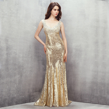 Фотография Real Image Champagne Evening Dresses Mermaid Sequined with Bling Sequined Evening Gowns Women Formal Party Vestidos Handmade