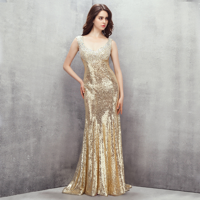 Real Image Champagne Evening Dresses Mermaid Sequined with Bling ...