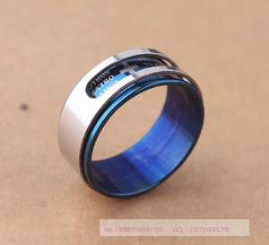 Image 2 - Mens brief style Polished & Brushed Blue Prayer double layer swivelling  scriptures cross Stainless Steel Rings