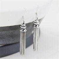 JINSE Lange Vintage Ohrringe Mode Frauen Schmuck Großen Tropfen Antike Silber S925 Reinem Silber Quaste Ethnische Baumeln Ohrring