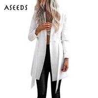 Elegant Sashes Long Suit Blazer Women Autumn V Neck Long Sleeve Jacket Coats Fashion Bow High