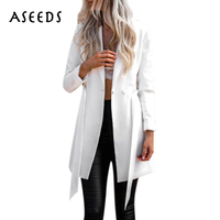 Elegant Sashes Long Suit Blazer Women Autumn V Neck Long Sleeve Jacket Coats Fashion Bow High
