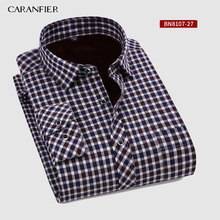 CARANFIER Neue Heißer Verkauf Winter Casual Hemd Warme Lange Hülse Plaid Shirts Dicke Samt Herren Marke Kleid Shirts Männlich Schlank fit