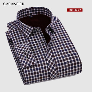 Image 1 - CARANFIER New Hot Selling Winter Casual Shirt Warm Long Sleeve Plaid Shirts Thick Velvet Mens Brand Dress Shirts Male Slim Fit