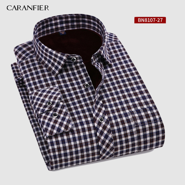 CARANFIER New Hot Selling Winter Casual Shirt Warm Long Sleeve Plaid Shirts Thick Velvet Mens Brand Dress Shirts Male Slim Fit
