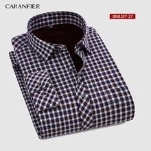 CARANFIER 新ホット販売冬シャツ暖かい長袖チェック柄シャツ厚いビロードメンズブランドドレスシャツ男性スリムフィット
