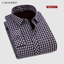 Caranfier nova venda quente inverno casual camisa quente manga longa camisas xadrez grosso veludo dos homens marca vestido camisas masculino magro ajuste