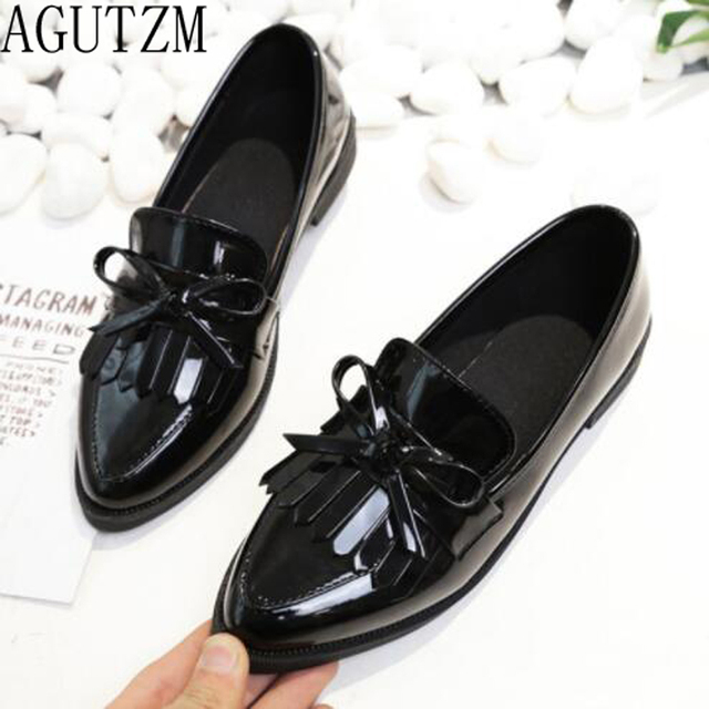 AGUTZM Brand Shoes Woman Casual Tassel Bow Pointed Toe Black Oxford Shoes for Women Flats Comfortable Slip on Women Shoes V698