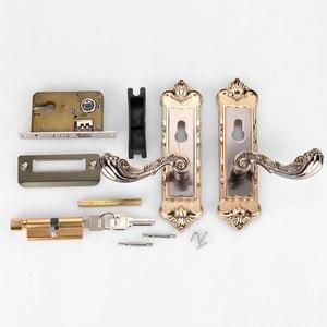 Image 5 - 1 Set Vintage Door Lock European Style Retro Bedroom Door Handle Lock Interior Anti theft Room Safety Door Lock