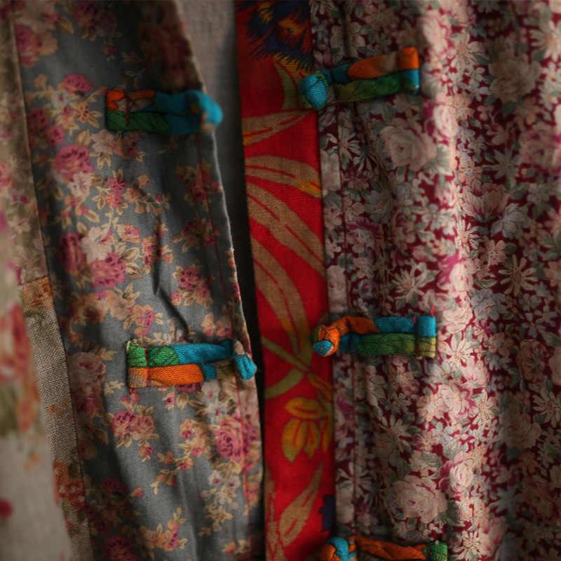 Johnature المرأة طباعة الأزهار خندق خمر معاطف 2020 الخريف جديد حامل طويل كم فضفاض الصينية نمط القطن الكتان خندق معطف