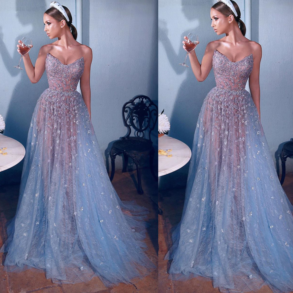 sliver prom   dresses   sweetheart neckline crystal beading sequins a line lace   evening     dresses   beaded formal   dresses