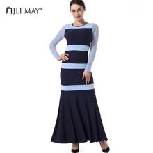 Jli может длинное трикотажное платье зимние женские Русалка Макси платья с длинными рукавами в полоску Сплит Тонкий повседневные осенние элегантные вечерние