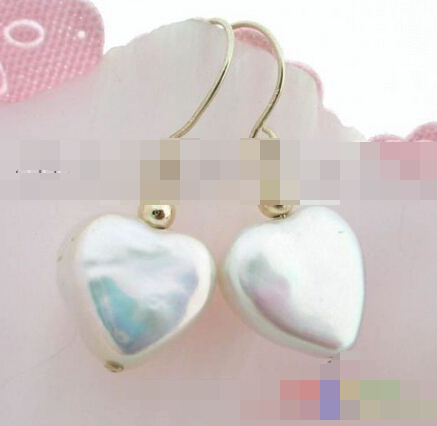 Hot selling> free shipping 00084 heart white freshwater pearl earring Bride jewelry free shipping