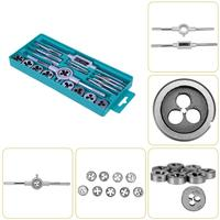 20pcs Tap Dies Set Straight Flute Hand Tap Wrench Holder Screw Thread Plugs Taps Carbon Steel
