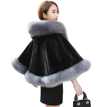 Brieuces 2018 winter new woman hooded cape Faux fox fur collar imitation rabbit shawl coat