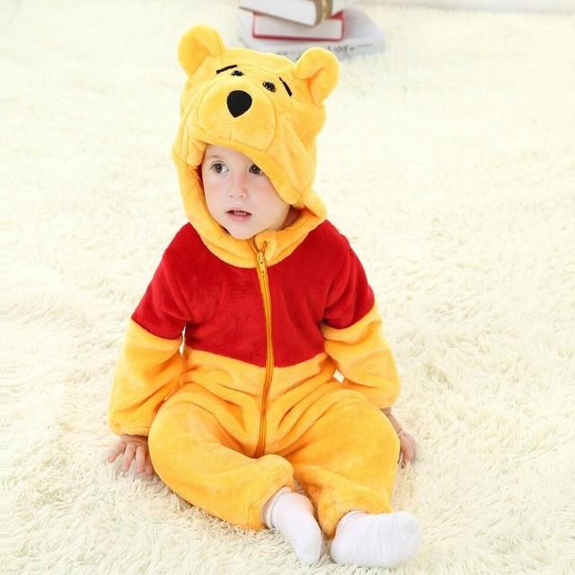 Menino do bebê animais Romper infantil traje com capuz flanela bonito urso infantil Romper criança macacão animais roupas de bebê terno traje