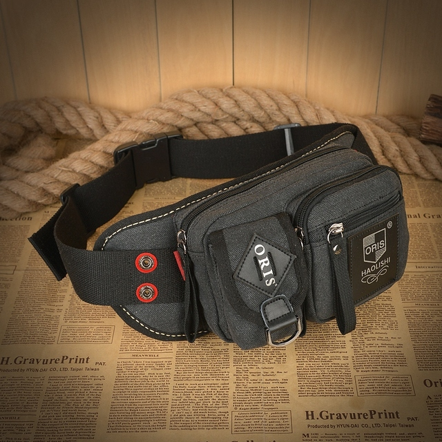 Squirrel fashion canvas vintage pattern brand high quality casual versatile unisex men's small waist packs cute bags
