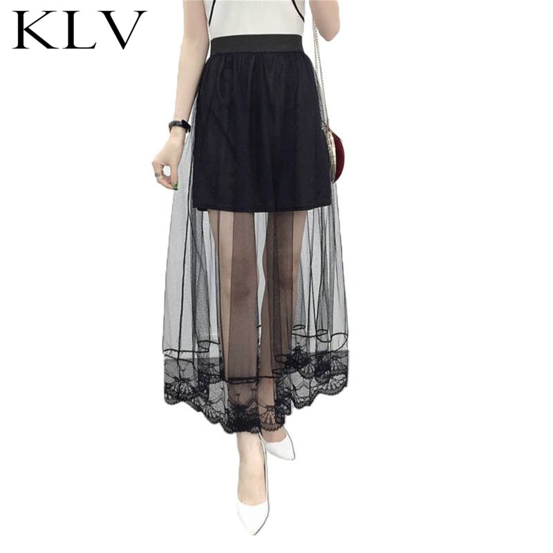 Women Wedding Party High Waist Lined Maxi Ankle Long Skirt Solid Color Scalloped Lace Trim Pleated Swing Sheer Mesh A-Line