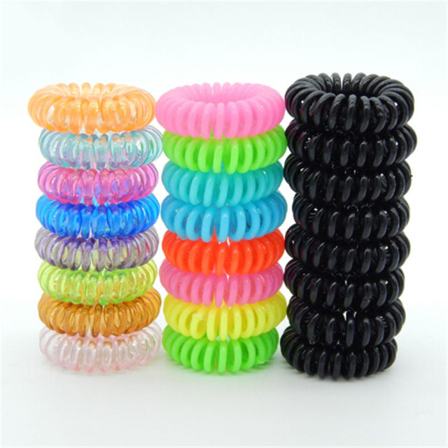 10PCS Plastic Spring Gum Clear Telephone Wire Elastic Hair Bands For Hair Ties No Crease Coil Hair Tie Ponytail Hair Accessories