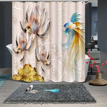 3d Goldfish And Lotus Leaf Green Mountain Water Shower Curtains Bathroom Curtain Thicken Waterproof Thickened Bath