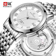 WEISIKAI التلقائي الميكانيكية للرجال الساعات الفاخرة تاريخ الأعمال الذكور ساعة اليد سوار الفولاذ المقاوم للصدأ الأزياء ساعة مضادة للماء