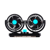 12/24V Car Mini Electric Fan 2 Head 360 Degree Rotating Low Noise Summer Conditioner Portable Adjustable Car Air Cooling Fan