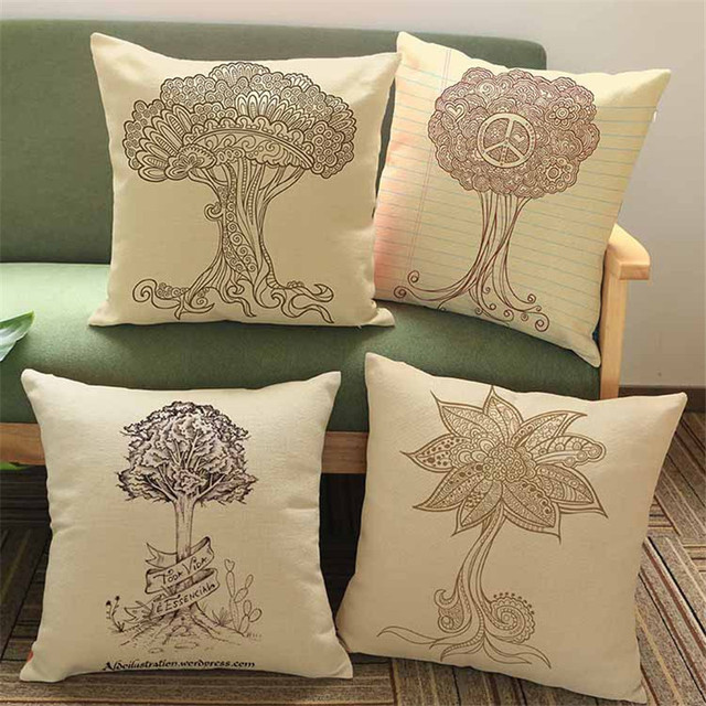 Square 45x45cm Grey Wish Tree Printed Cushion Cover Home Decoration Cotton  Linen Sofa Pillow Case Coveru0026
