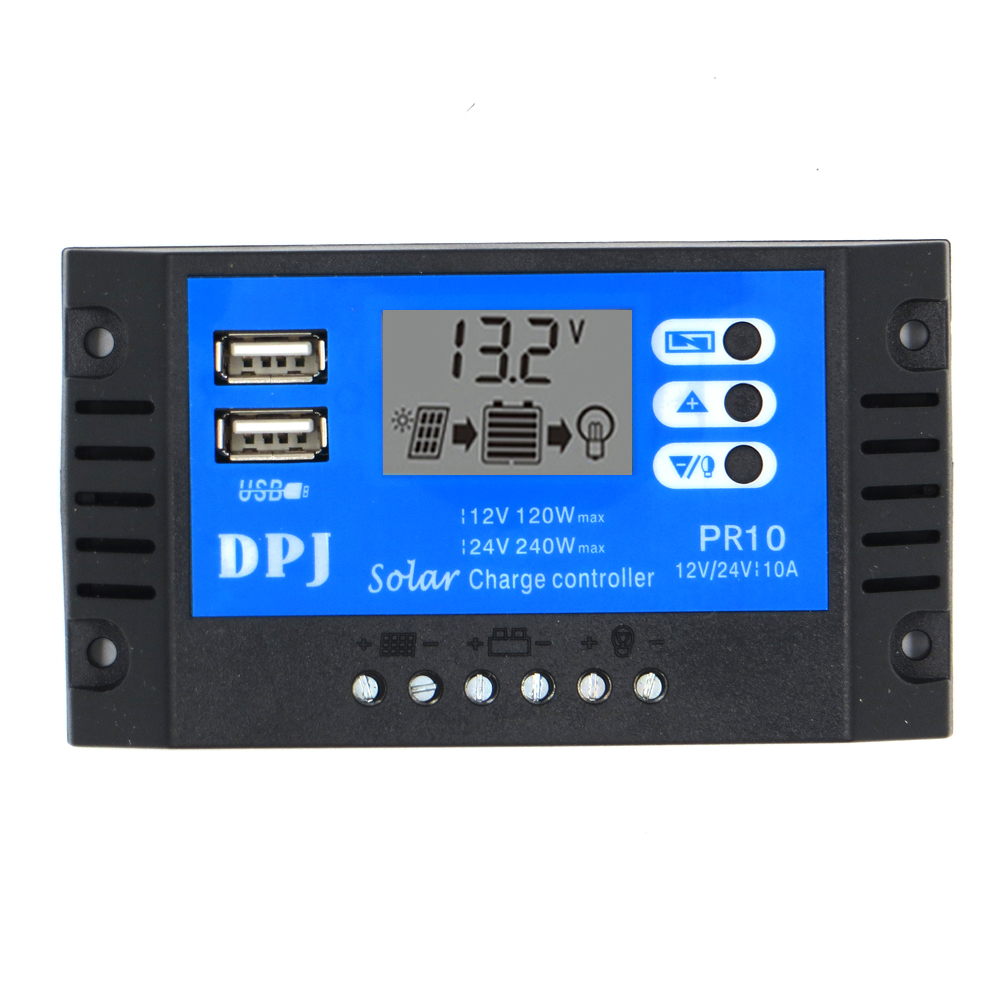 10A RP10 DC 12V 24V Auto Solar Charge Controller PWM Solar battery charger Solar PV Regulators with LCD Display and 5V
