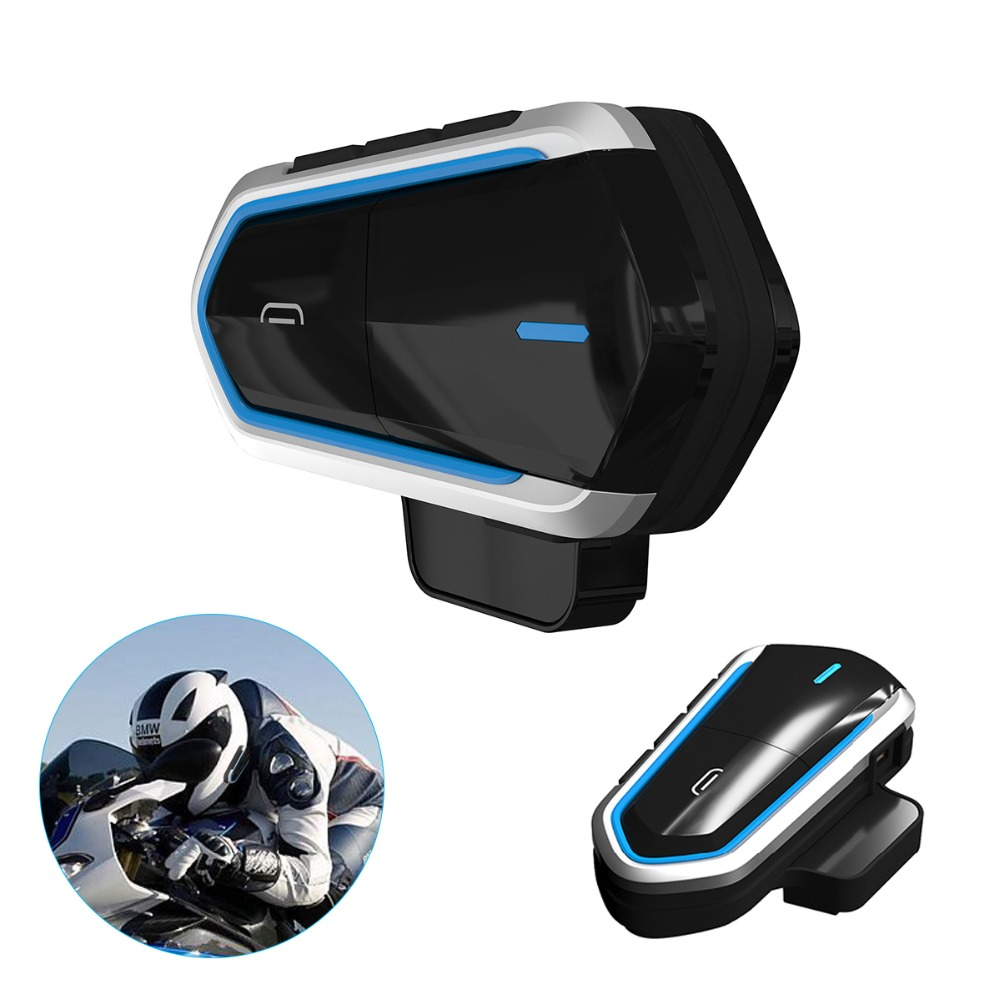SOONHUA Stylish Motorcycle Bluetooth Headphone Waterproof Helmet Headset HD Stereo Music FM Radio Headphone Supports Handsfree
