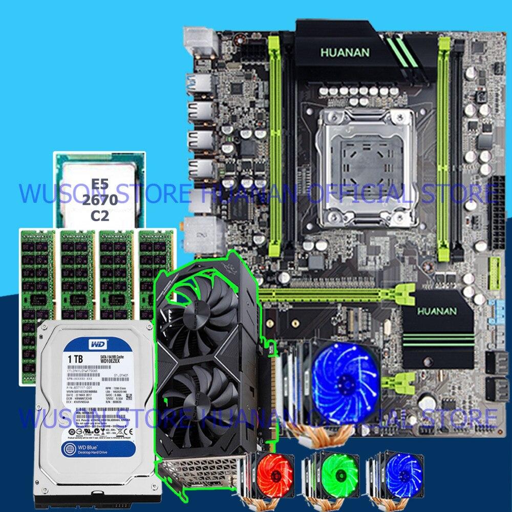 HOT!HUANAN X79 mainboard CPU Xeon E5 2670 C2 with 6 heatpipes cooler RAM 32G(4*8G) DDR3 RECC 1TB 3.5' SATA HDD GTX1050Ti 4GD5 VC deluxe edition huanan x79 lga2011 motherboard cpu ram combos xeon e5 1650 c2 ram 16g 4 4g ddr3 1333mhz recc gift cooler