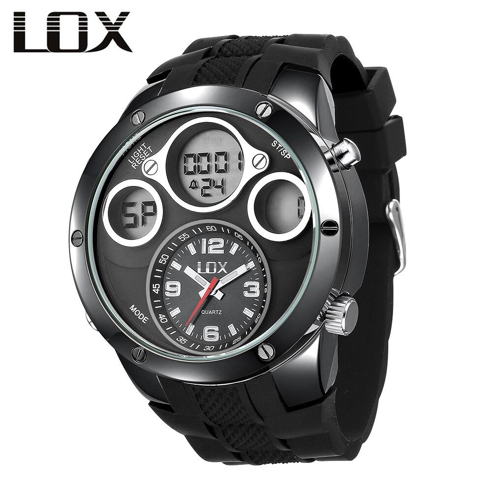 LOX férfi divat és alkalmi analóg digitális óra kettős kijelző - Férfi órák