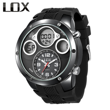 LOX Men Fashion Casual Analog Digital Watch Dual Display Multifunction Quartz Wristwatches Outdoor Fun Clock Montre