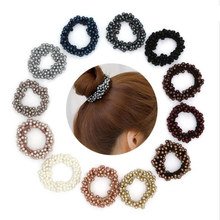 Fashion Pearls Bead Elastic Rubber Hair Bands Elegant Headwear Women Girl Rope Scrunchy Ponytail Jewelry Accessories 2