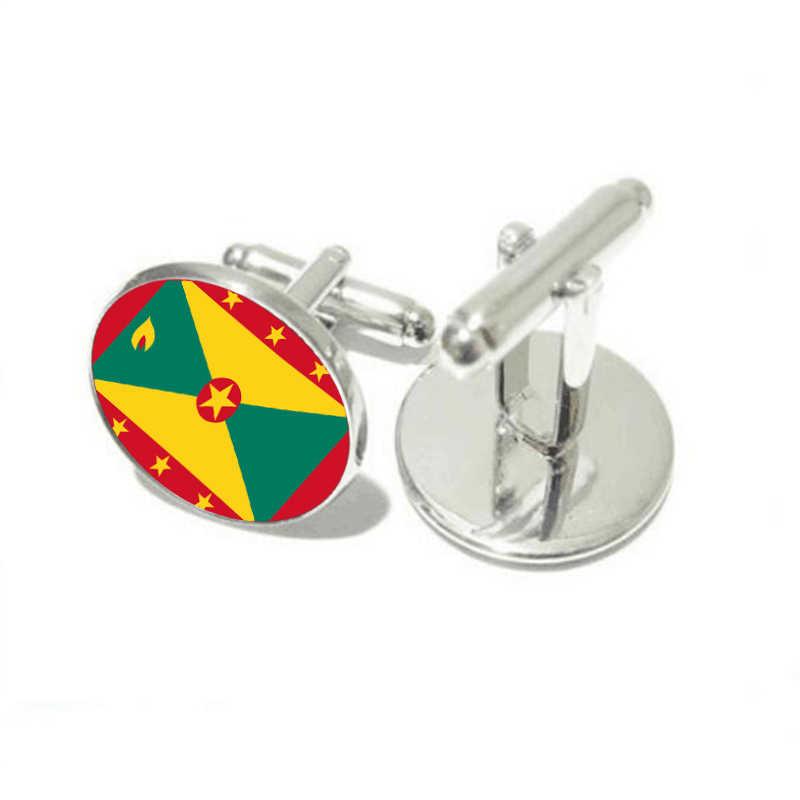Moda şans erkek damat düğün kol düğmeleri Grenada ulusal bayrağı Vintage kol düğmesi gömlek kol düğmeleri marka hediye takı