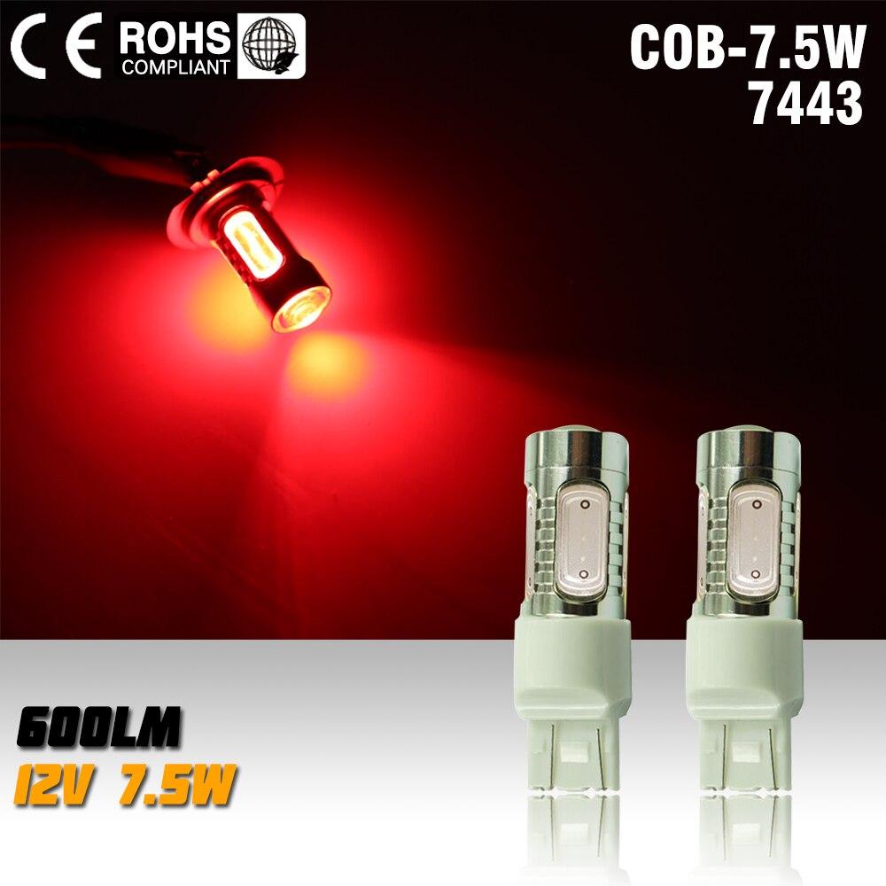 2X T20 7.5w 12v Led Car Light Source 7443 Led Auto Brake Bulbs w21/5w Parking High Power Car Led Lamp red