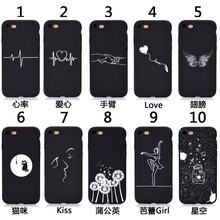 Love cat butterfly dancing girl cartoon black phone case for iphone X S MAX XR 10 6 s 6s 7 8 Plus 7Plus Soft Silicon Back
