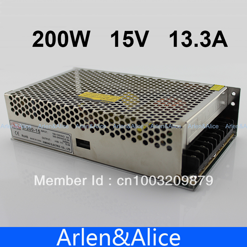200W 15V 13.3A Single Output Switching power supply for LED Strip light AC to DC 1200w 12v 100a adjustable 220v input single output switching power supply for led strip light ac to dc
